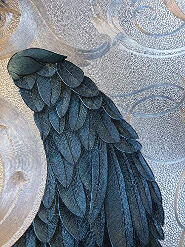 Tapete Silber, Lila, Blau Flügel, Krone, Edel - Klassisch - Kollektion Glööckler Imperial von marburg - für Schlafzimmer, Wohnzimmer oder Küche - Made in Germany - 10,05m X 0,70m - 52579