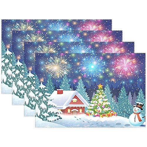 sunnee-shop Placemat voor de winter en sneeuwpop, kerstboom, 6-delige set, placemat, placemat, placemat, placemat, placemat, placemat, placemat, placemat