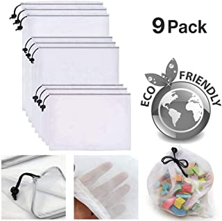 9 pcs Reusable Mesh Produce Bags Eco Friendly Washable Premium Mesh Bags Black Drawstring, Double-Stitched Strength Bags for Shopping & Storage of Fruit Vegetable and Toys