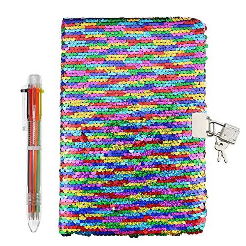 FUQUN Magic Cuaderno de lentejuelas y bolígrafos de 6 colores - Diario...
