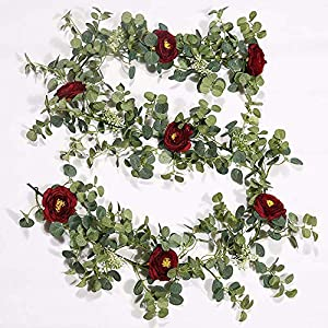 Silk Flower Arrangements BIT.FLY 6ft Artificial Flower Eucalyptus Greenery Leaves Garland Hanging Rose Ivy Fake Camellia Vine for Wedding Arch Backdrop Wall Decoration Party Supply - Burgundy