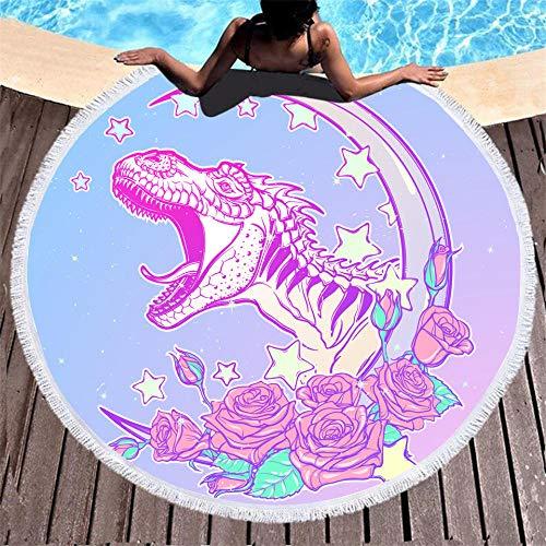 BCDJYFL Secado Rápido Toalla De Playa Dinosaurio Flor Creativa Rectángulo Manta De Verano Playa Compacto Resistente A La Arena Seque Rápidamente Yoga O Viajes.-Diámetro: 150Cm