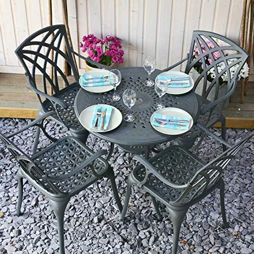 Lazy Susan ANNA 80cm 4 Seater Round Table, Maintenance Free, Lightweight, Built to Last, Weatherproof, Artisanal Sand Cast Aluminium, Slate Grey Finish, ROSE Chairs