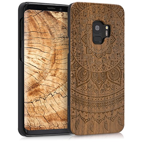 kwmobile Wood Case Compatible with Samsung Galaxy S9 - Non-Slip Natural Solid Hard Wooden Protective Cover - Indian Sun Dark Brown