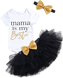 Newborn Infant Baby Girl Outfits Mama Print Romper + Tutu Skirts + Headband + Leg Warmers 4pcs Clothes Set