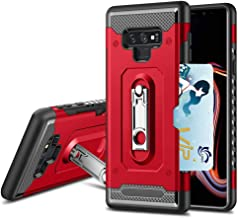 Protective for Samsung Galaxy note9 Phone case with Kickstand Card Holder Note 9 Cover g not 9note glaxay gaxaly Heavy Duty Rugged galaxynote9 (Red)
