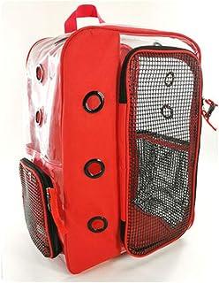 Lazder Mochila transparente para cachorro, perro, gato, mochila transpirable, plegable, para caminar al aire libre (rojo)
