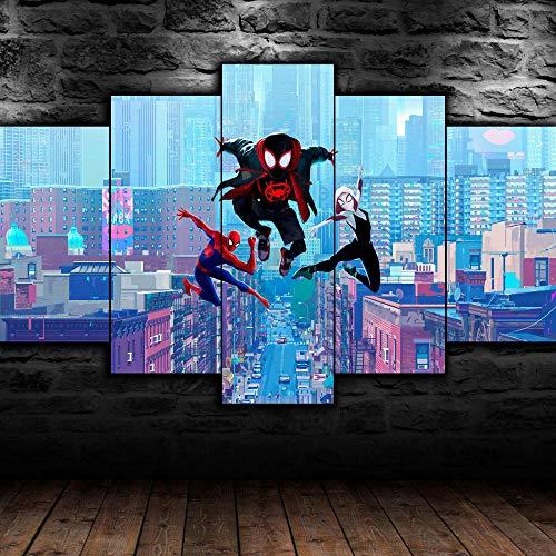 KOPASD Piy Painting 5 Piezas Cuadro sobre Lienzo Imagen Spider Man en Spider Verse Impresión Pinturas Murales Decor Dibujo con Marco Fotografía para Oficina Aniversario200x100cm