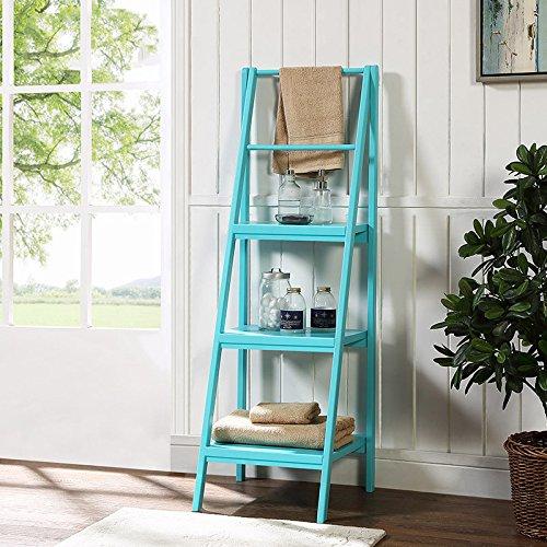 Duo boekenkast, staand rek, framekast, bloemenrek van het vaste massief houten frame, ladder-blauw/Milky/Walnut ophangkast,
