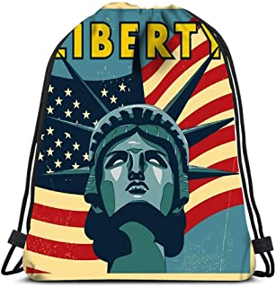 Durable Drawstring Backpack Liberty Design For Carrying Around