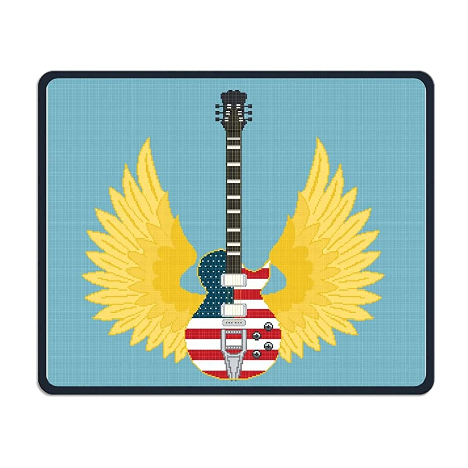 Rock American Flag Guitar Office Rectangle Non-Slip Rubber Mouse Pad Comfortable Gaming Mouse Pad for Laptop Displays Tablet Keyboard