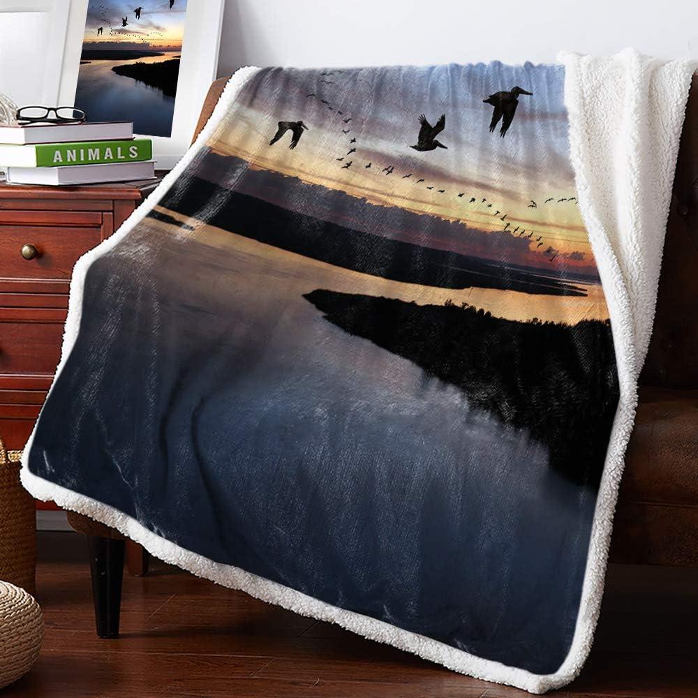Sherpa Fleece お買得 Throw Blanket- Secluded G Sunset Marshland Sunrise 本物◆