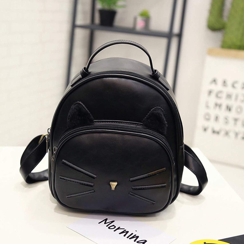 RABILTY Retro Mini Backpack pu Waterproof Student Bag Lady Cute Small Backpack (color   Black)