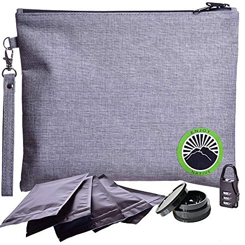 New 2021 Smell Proof Bag - Odor Proof Bag - Dog Tested Bags - Best Odor Proof Pouch Zipper on Top Smell Proof Case for Herbs Coffee Tea Oils 5 Sealed Baggies - Smell Proof Container