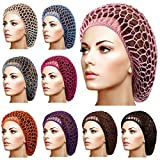 9 Pieces Mesh Hair Net Rayon Head Bands for Sleeping Crochet Hairnet, Hair Covers Ornament, Hair Accessories for Women, 9 Colors