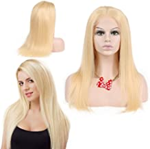 Nobel Hair # 613 Blonde Human Hair Wigs For Women With Baby Hair Straight Brazilian Virgin Human Hair Glueless Lace Wig(lace front wig 18 inch)