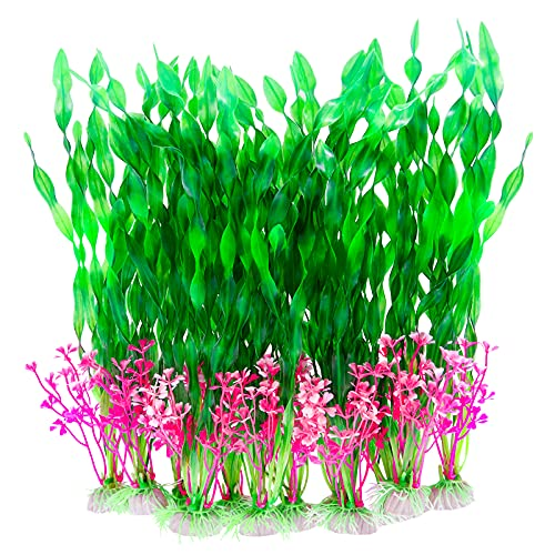 CousDUoBe 12 PCS Artificial Seaweed Water Plants, Plants for Aquarium Decorations, Fish Tank Decorations Suitable for Home and Office Fish Tank Accessories (Green Upgrade)