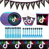 BAIBEI TIK Tok - Juego de vajilla para fiestas, vajillas para fiestas de cumpleaños, decoración...