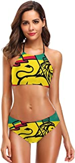 K0k2t0 Women's Printing High Neck Halter Two Piece Bikini Swimsuits,Judah Lion with A Rastafari Flag King Jungle Reggae Theme Art Print