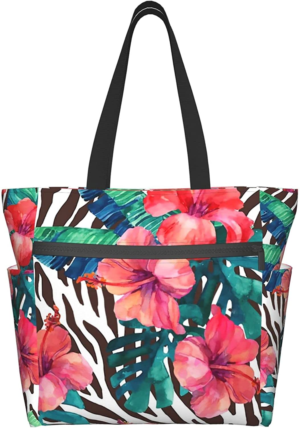 Tote Bag with Zipper for Super sale period limited Women New mail order Flowers Texture and Daily Animal