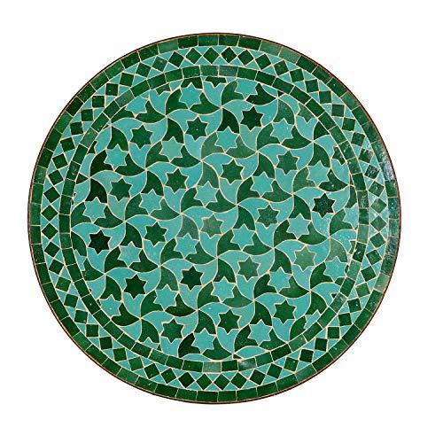 Casa Moro Mo10007 - Mesa de jardín mediterránea (60 cm de diámetro, redonda, esmaltada con estructura, 73 cm de altura, hecha a mano en Marrakech), diseño de mosaico, color verde esmeralda