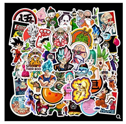 ZJJHX Anime Dragon Ball Monkey King Pegatina de Coche de Dibujos Animados Equilibrio Coche Locomotora Scooter Motocicleta Bicicleta pequeña Pegatina 50 Hojas