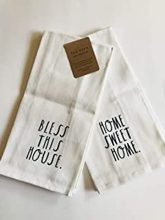 Home Sweet Home/Bless This House - - Rae Dunn Farmhouse Black and White Large Letter Kitchen Dish Hand Towels Set of Two 100% Cotton