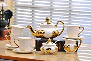 YGB Service à thé en céramique, théières en Porcelaine Service à café 11 têtes Ensemble de thé européen Cadeau de Mariage