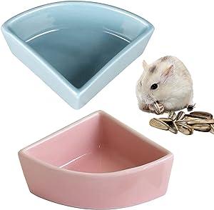 Hamster Ceramic Feeding Bowl Corner Bowls Dishes Small Animal Food Water Bowl for Hamster Gerbil Rat Guinea Pig Bird Reptile