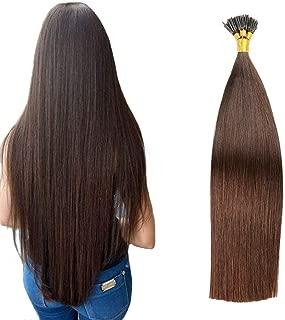 JIAMEISI I-Tip Hair Extensions Remy Flat Fusion Hair Extensions Human Hair Full Head 100S Stick I Tip Human Hair Extensions Long Straight 1g/Strand 100 Gram Per Package(22''/55cm,#2Dark Brown)