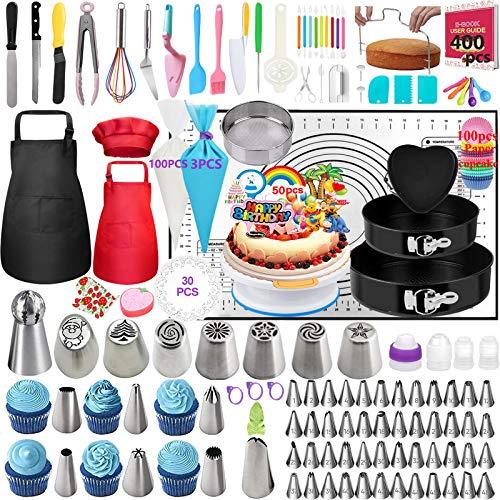 Nifogo Kuchenform Tortenplatte Drehbar Spritztüllen Set, 400 Stück Kuchen Dekorieren Set mit 63 Edelstahl Spritztüllen, 3 Springform, Kuchenplatte, 3 Silikon Spritzbeutel