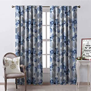 GUUVOR Shabby Chic Blackout Curtain Watercolor Paintbrush Camellia Petals Perennial Romance Sprout Feminine Artsy Print 2 Panel Sets W84 x G96 Inch Blue
