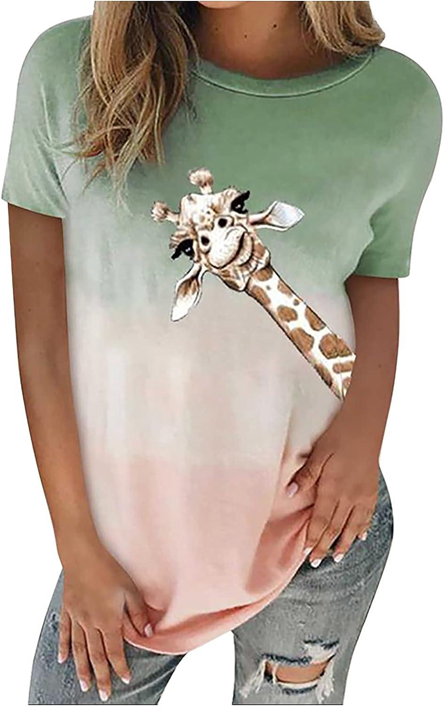 Color Gradient Blouse for Women Giraffe Graphic Tees Tie Dye Shirt Short Sleeve Blouse Summer Tops