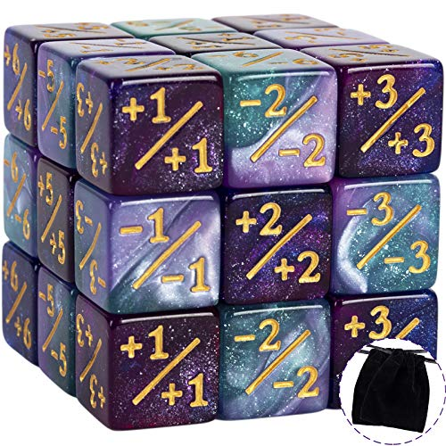 24 PCS Token Dice Counters Magic The Gathering Starry Sky Dice Marble Cube D6 Dice for Loyalty CCG MTG Creature Stats Card Gaming Accessories (Turquoise&Lilac, Navy&Fuchsia)