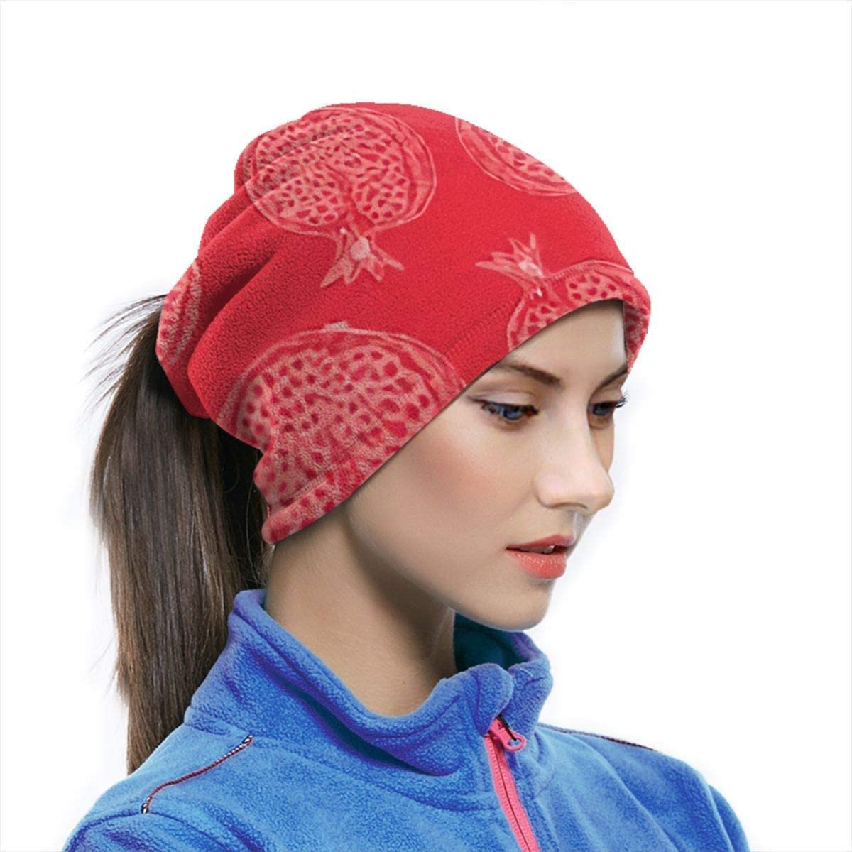 Lastbest White Contours Pomegranates On Food and Drink Neck Warmer Multifunction Scarf Hat Neck Gaiter Neck Cap Bala Windproof Neck Heating Wrap Outdoor Sports