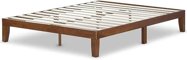 Zinus Wen 12 Inch Wood Platform Bed Frames No Box Spring Needed Wood Slat Support Cherry Finish Queen