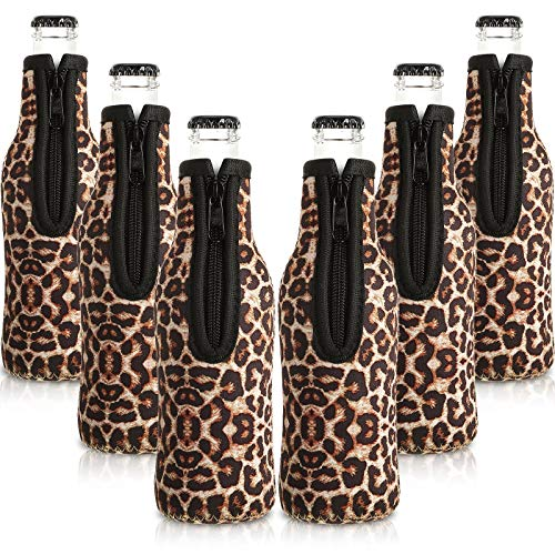 Leopard Beer Bottle Coolers with Ring Zipper Neoprene Beer Sleeve Covers Beer Bottle Insulator Sleeve for 12 oz 330 ml Bottles for Party (6)