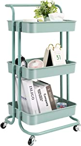 danpinera 3 Tier Rolling Utility Cart with Wheels and Handle Storage Organization Shelves for Kitchen, Bathroom, Office, Library, Coffee Bar Trolley Service Cart, Green
