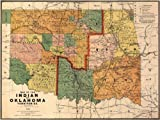 Antiguos Maps - The Oklahoma & Southwest United States Indian Territories Map Circa 1892 - Measures 24 in x 32 in (610 mm x 813 mm)