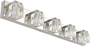 RALBAY LED Modern Bathroom Vanity Lights 5 Lights Crystal Glass Stainless Steel Bathroom Vanity Lights Fixtures Over Mirror L