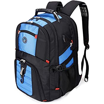 SOLDIERKNIFE Large Durable 50L Travel Laptop Backpack School Backpack Travel Backpack College Bookbag with USB Charging Port fit 17 Inch Laptops for Men Women Including Lock Blue