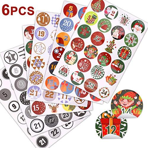 Hoiny 6 * 24 Adventskalender Zahlen Aufkleber Sticker rund Zahlenaufkleber 4 cm für Geschenke, Weihnachten zum Basteln und Verzieren
