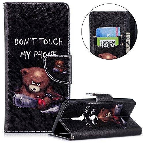 Surakey kompatibel mit Sony Xperia XZ2 Hülle Lederhülle Flip Wallet Case Cover für Sony Xperia XZ2 Bunte Muster Brieftasche Tasche Handycover Handyhülle Handytasche Schutzhülle,Don't Touch My Phone