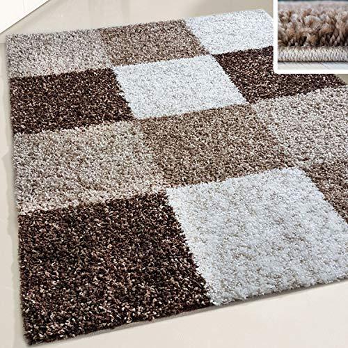 Flauschiger Teppich Langflor Hochflor Shaggy Teppiche Modern Wohnzimmer Flokati Kariert Karo | verschiedene Maße | Kinderzimmer & Jugendzimmer geeignet | Schadstofffrei (Braun, 160 x 220 cm)
