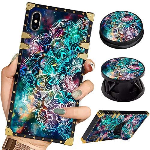 Bitobe Luxury Square Phone Case iPhone Xs Max Galaxy Mandala Flower Retro Elegant Soft TPU Design Cover for iPhone Xs Max 6.5 inch 2018