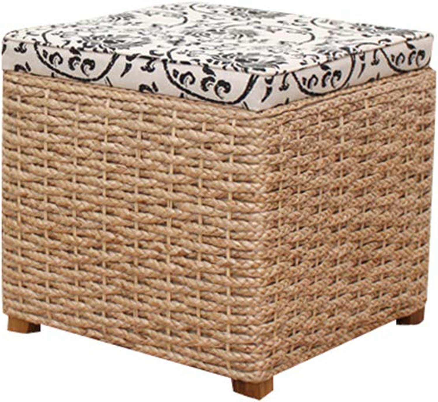 Straw Storage Stool Storage, Hairy Grass Change shoes Toy Storage Storage