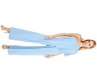 Adrianna Papell Petite Crepe One Shoulder Jumpsuit (Antique Blue) Women