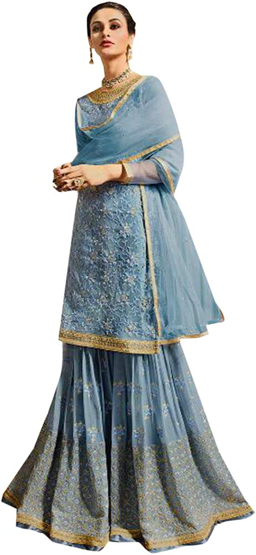Designer Pakistani Sharara Heavy Embroidery work party Wear Dress 7501