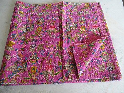 Tribal Asian Textiles Couvre-lit Kantha Motif cachemire Multicolore Taille King Size