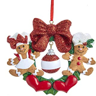 Kurt Adler Gingerbread Wreath Family of 2 Ornament for Personalization